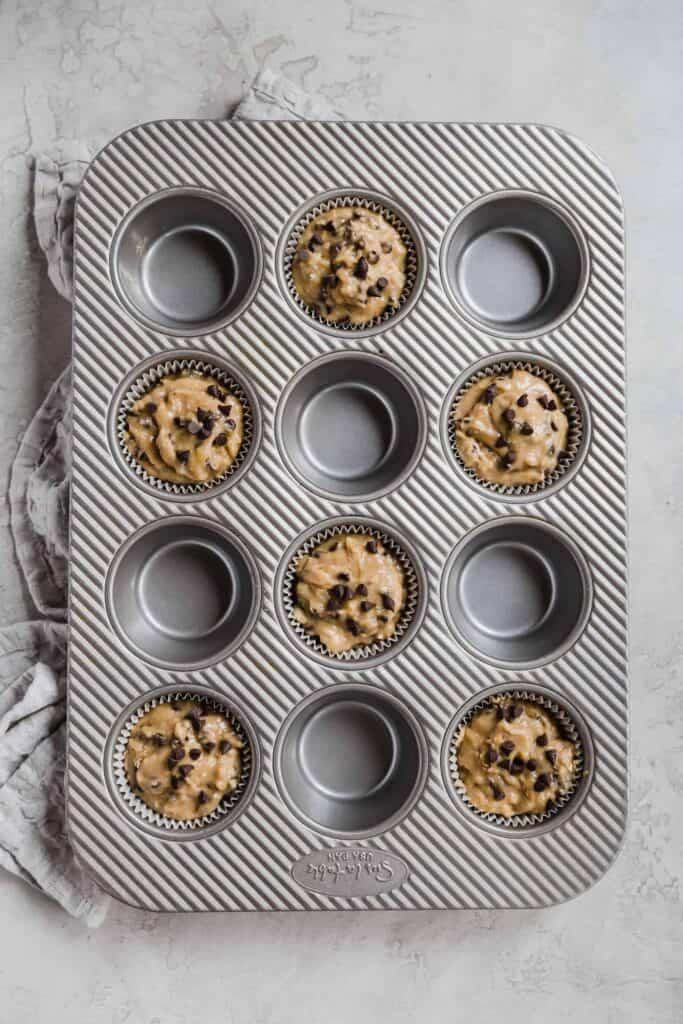 spelt flour banana chocolate chip muffins