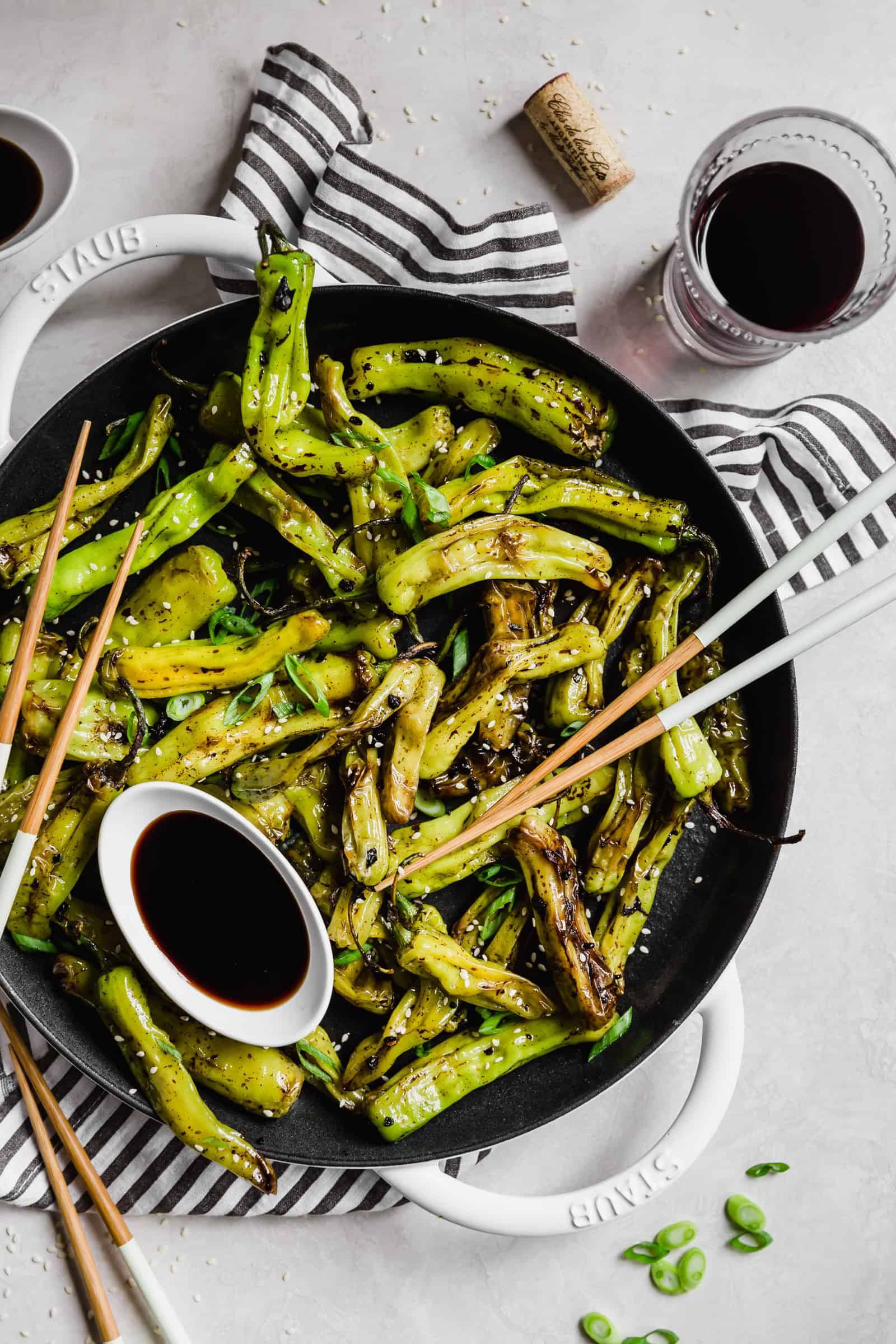 Shisito peppers with soy sauce and sesame