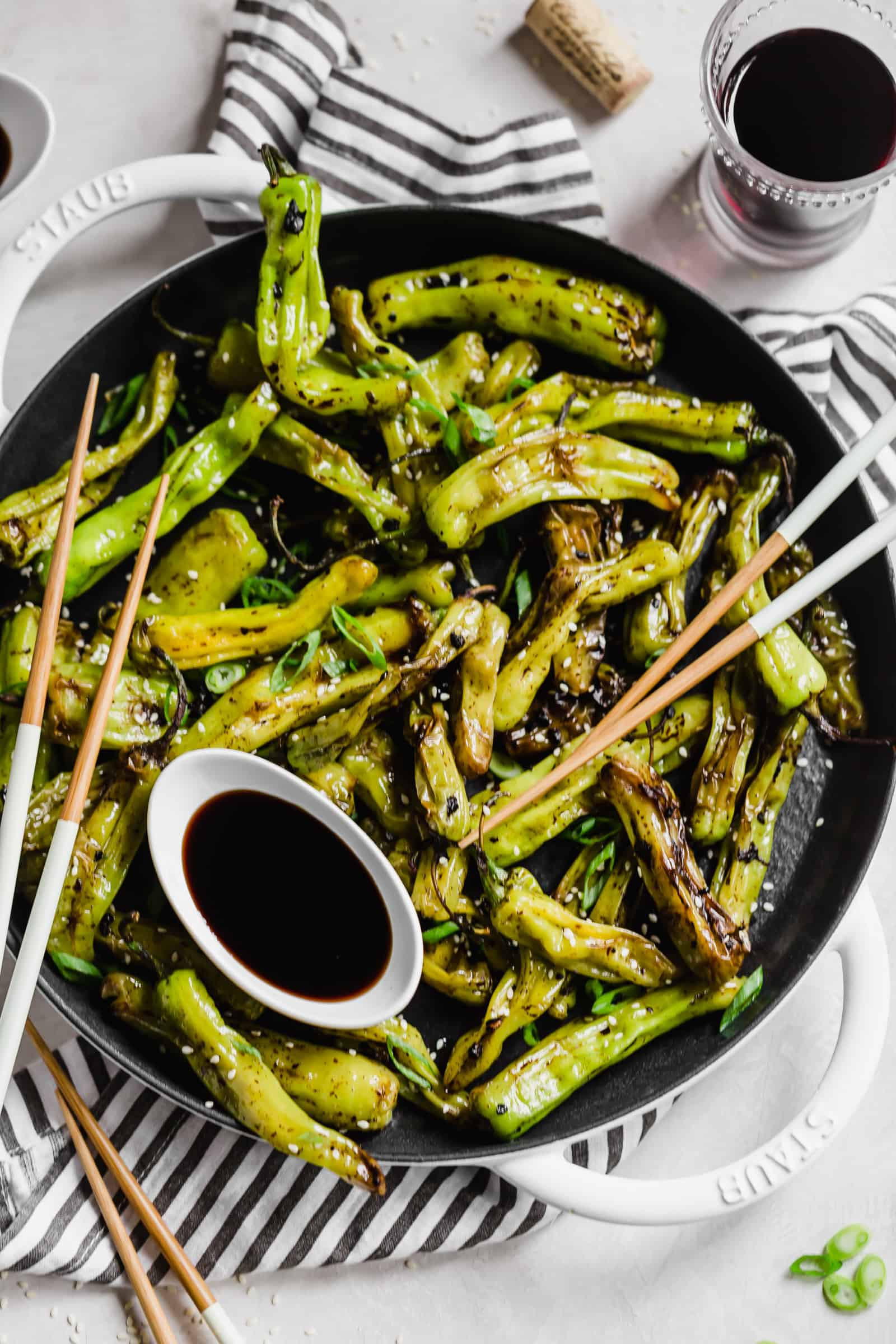 Blistered shisito peppers with soy sauce