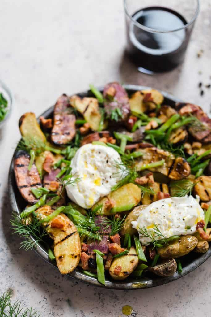 grilled potato salad with burrata and truffle salt