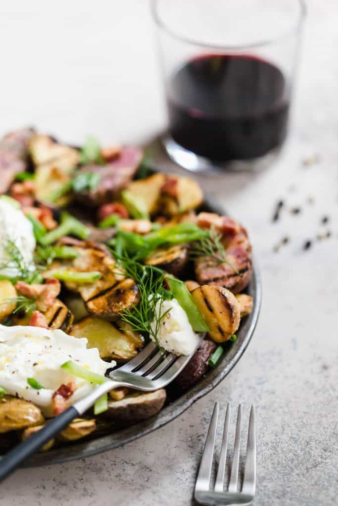 grilled potatoes with snap peas, burrata, and fresh herbs