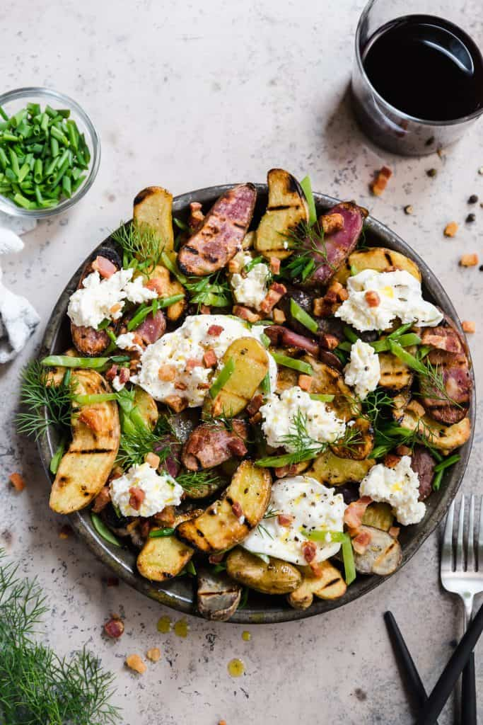 grilled potato salad with burrata