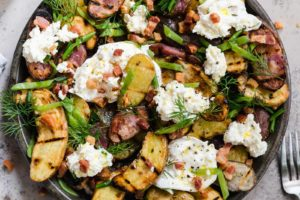 Grilled Potato Salad with Snap Peas and Burrata