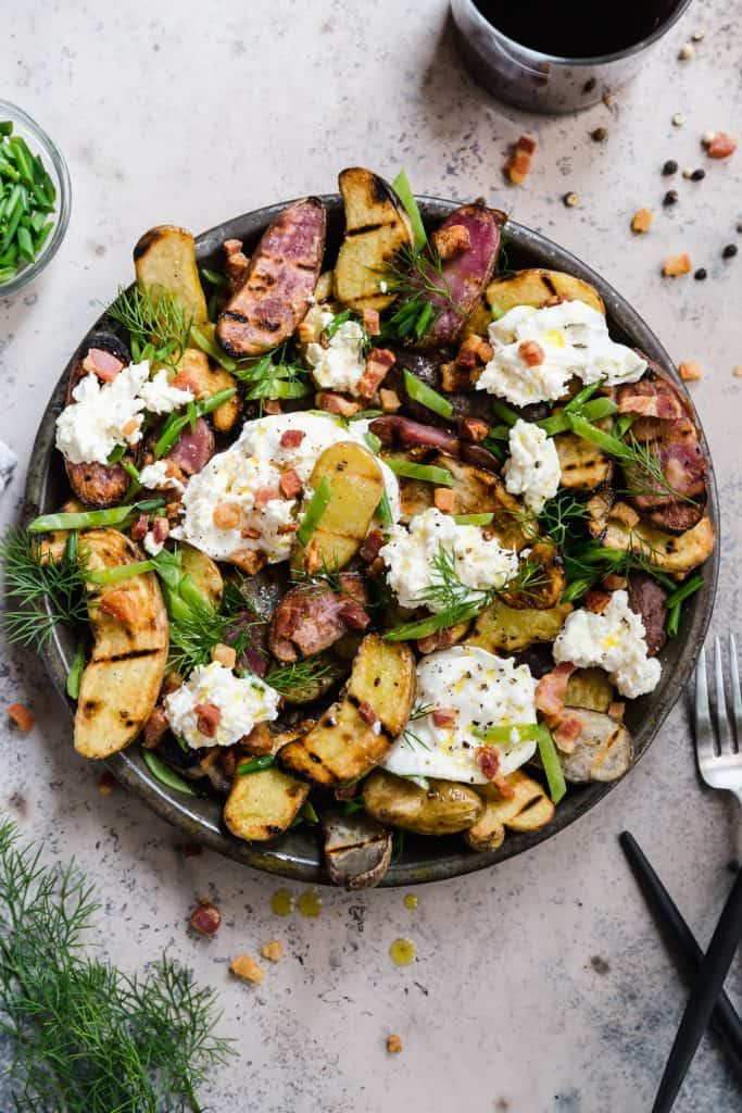 healthy potato salad with burrata, snap peas, and pancetta