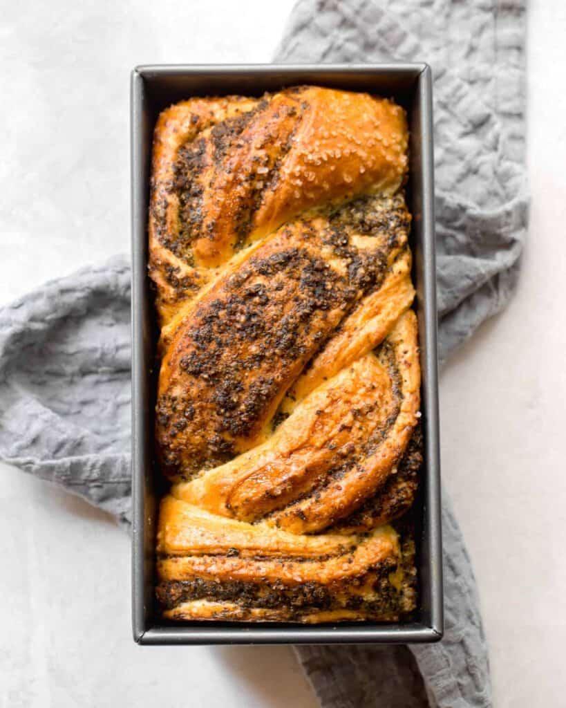 homemade braided pesto bread