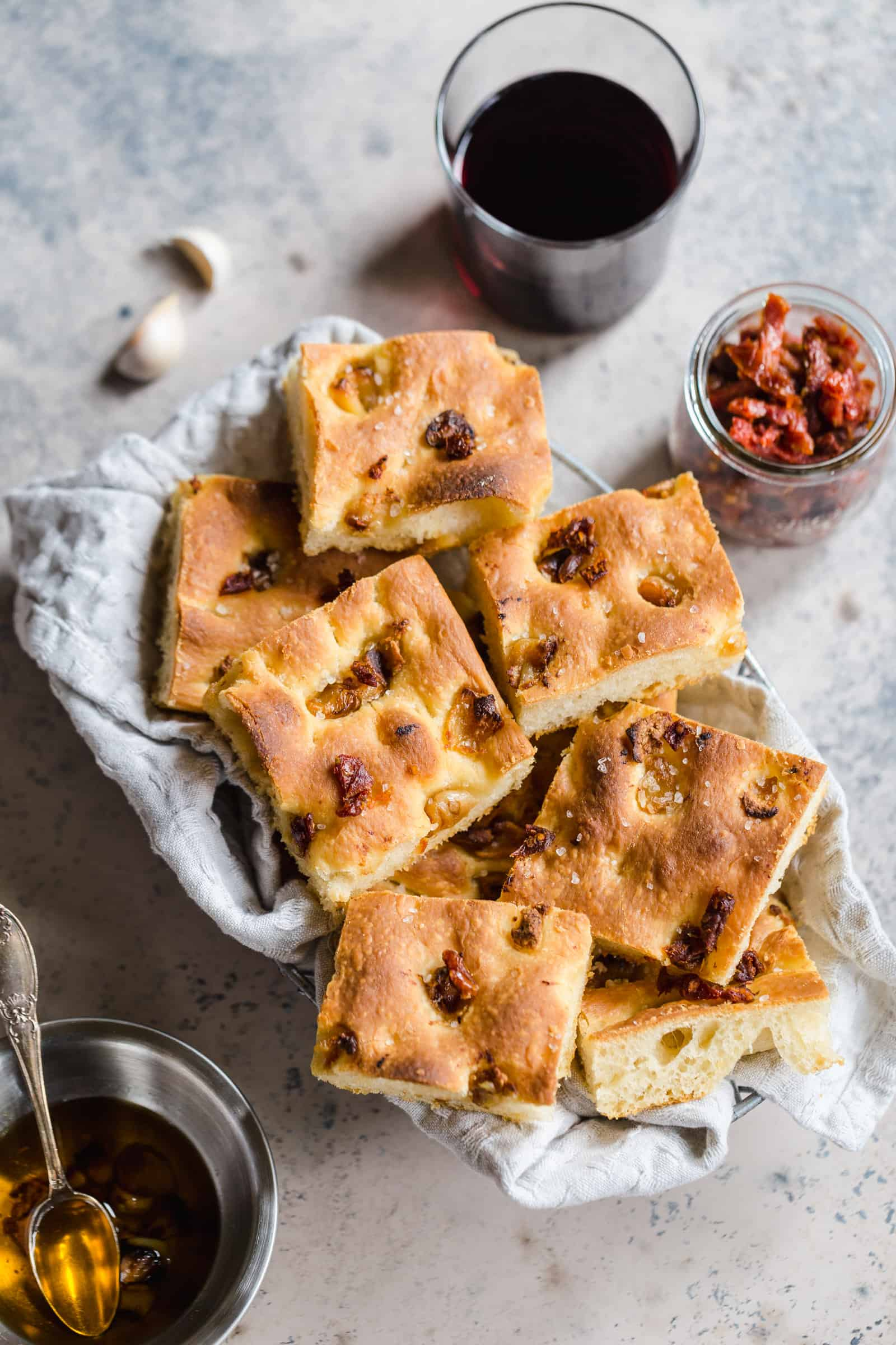 fresh roasted garlic and sun-dried tomato focaccia