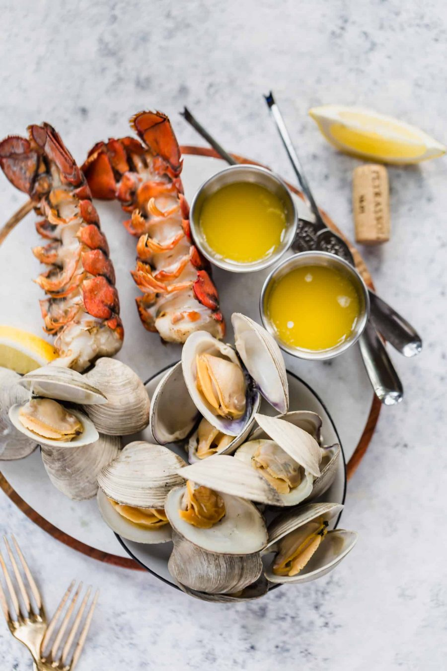 Grilled Lobster Tails and Clams