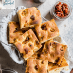 california sun-dried tomato and roasted garlic focaccia