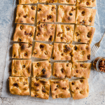 easy focaccia with roasted garlic and sun-dried tomatoes