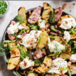 grilled potato salad with burrata and peas