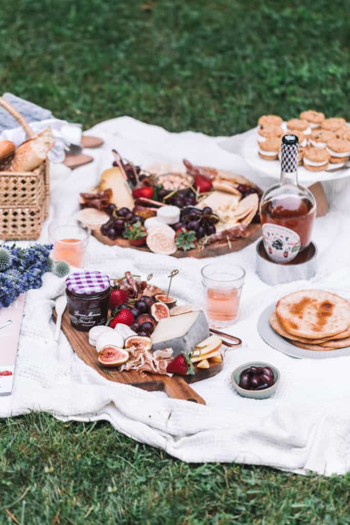 charcuterie and cheese board for a summer picnic