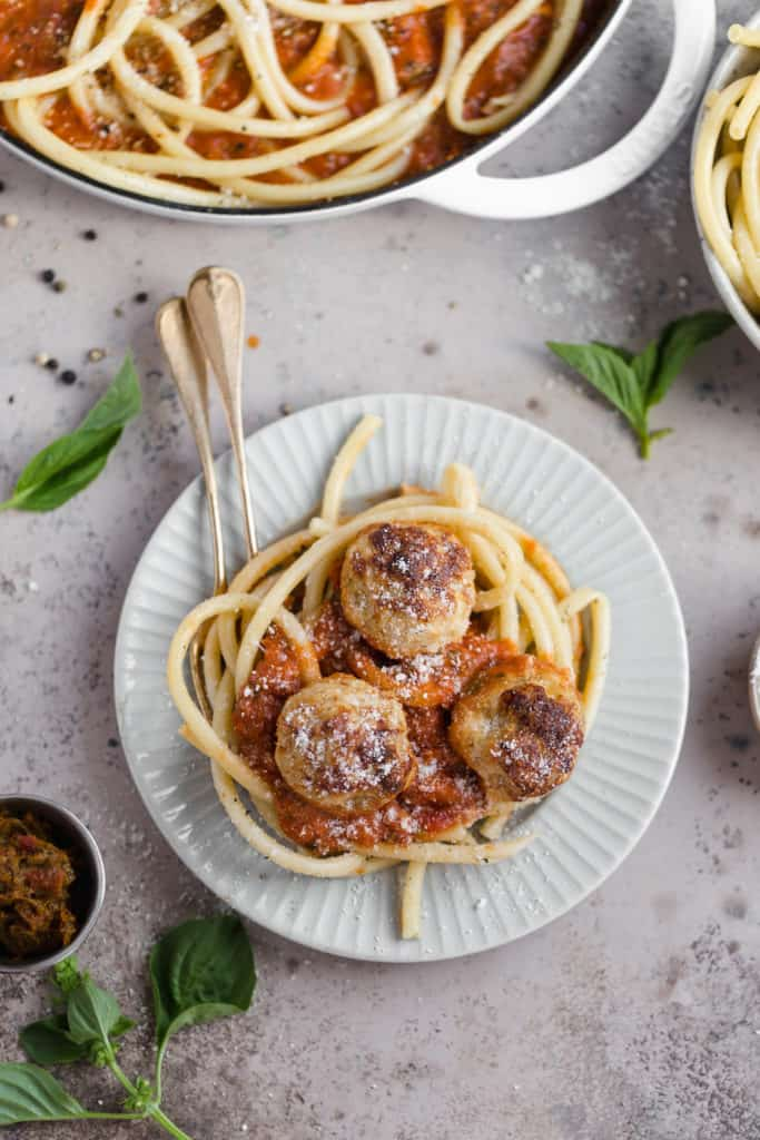 pasta with chicken meatballs and red sauce