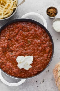 red sauce with mascarpone cheese