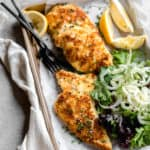 homemade chicken milanese with fennel salad