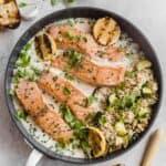 crispy pan-seared salmon with parmesan herb sauce