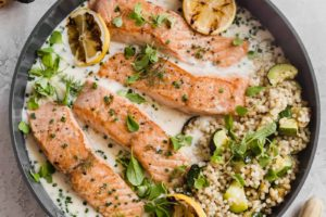 Crispy Pan Seared Salmon with Lemon Parmesan Sauce