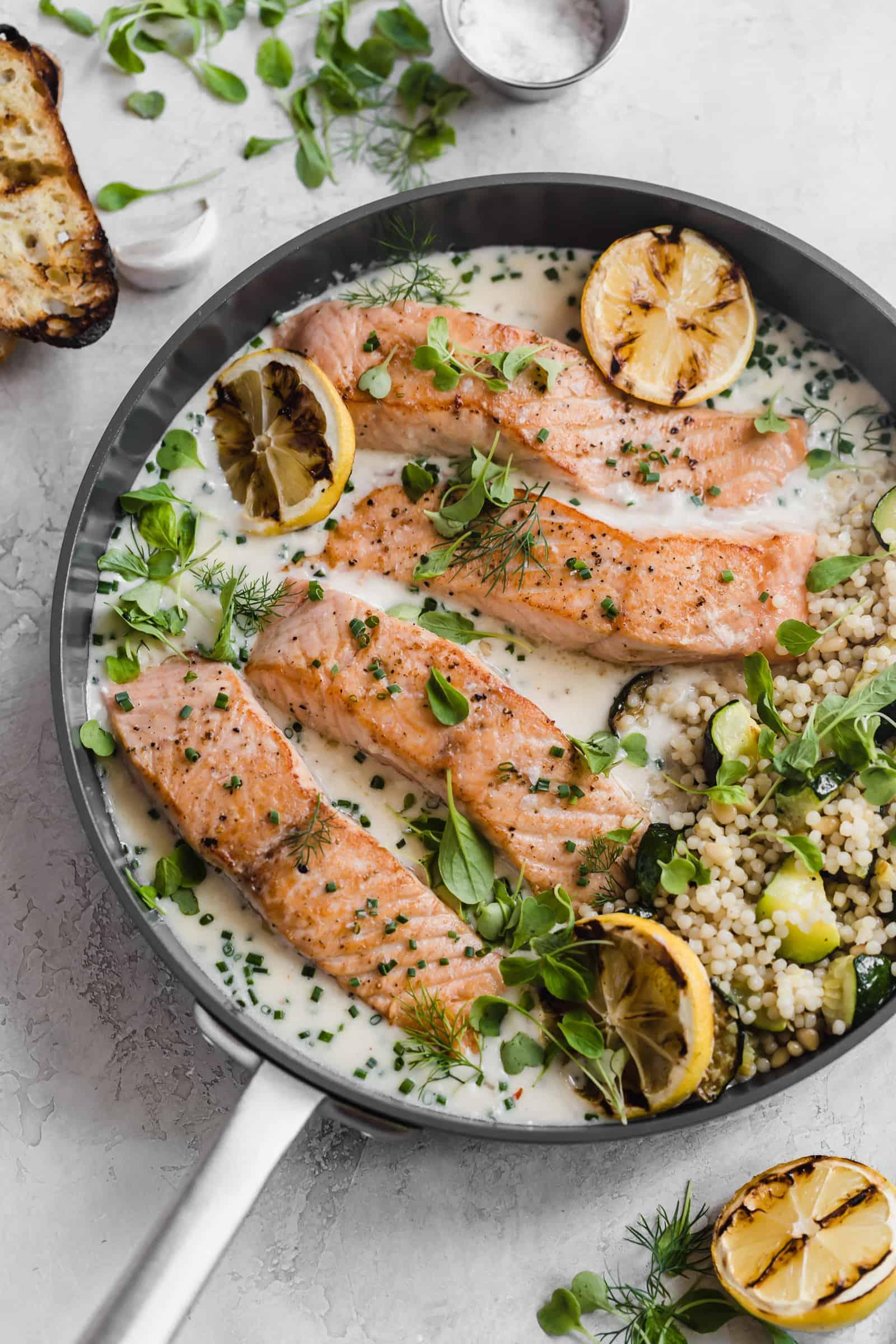 crispy skin salmon with lemon parmesan herb sauce
