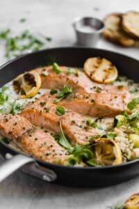 crispy salmon with couscous and lemon parmesan sauce