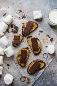 grilled crostini with chocolate squares