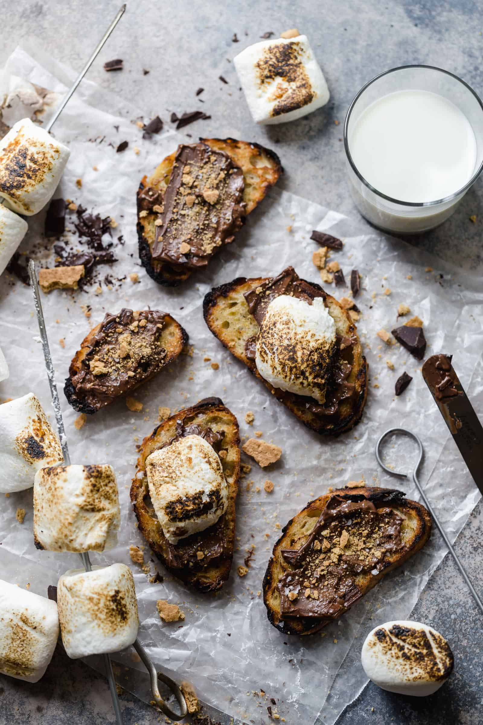 grilled crostini s'mores with sea salt and roasted marshmallows