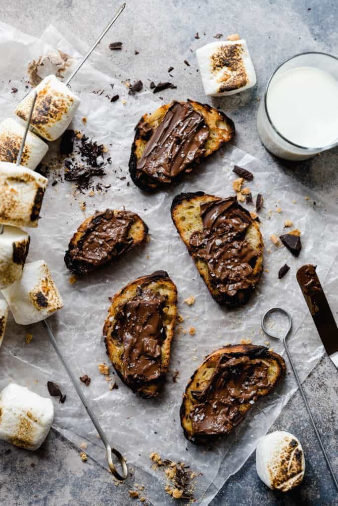 grilled crostini with melted chocolate and se salt