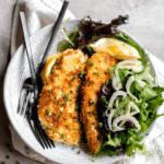 crispy weeknight chicken milanese with shaved fennel salad