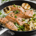 salmon and couscous with lemon and parmesan sauce