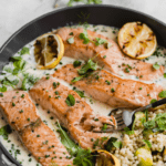 weeknight salmon with parmesan cream sauce