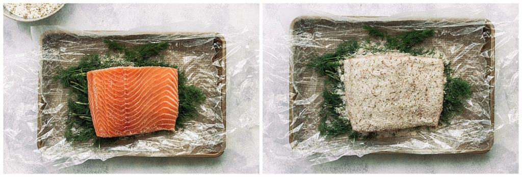 cold cured salmon with fresh dill and spices