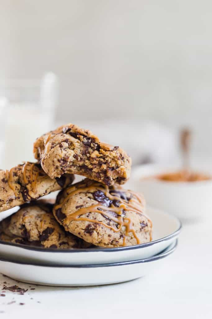 soft and chewy dark chocolate cookie butter cookies