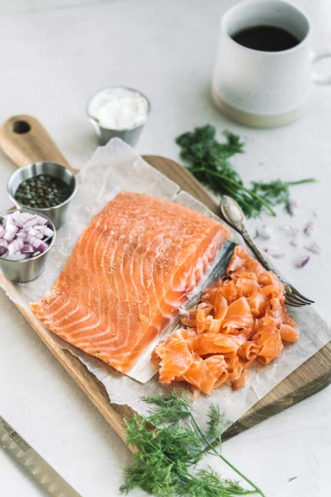 cold cured gravlax with fresh dill