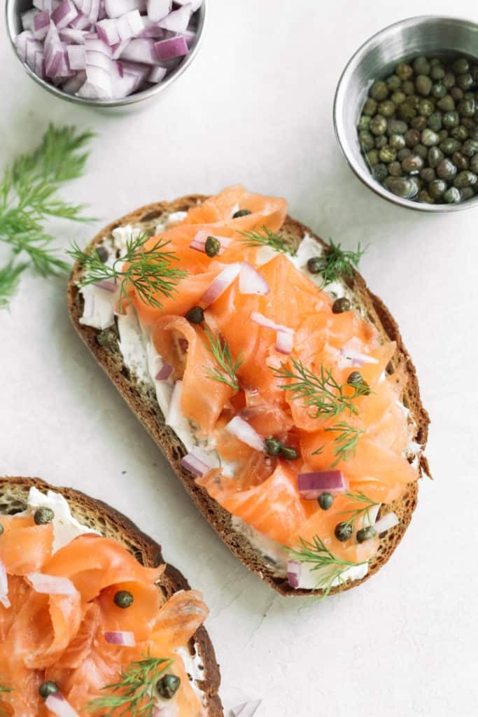 gravlax with capers, dill, and cream cheese