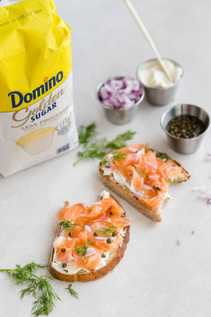 gravlax on toast with capers, red onion, and cream cheese