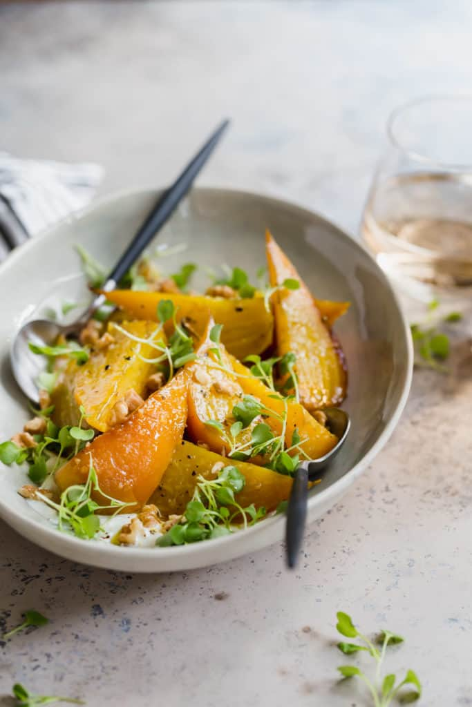 roasted golden beets with horseradish and arugula