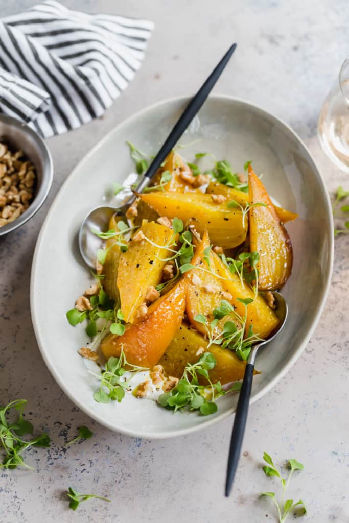 roasted golden beets with horseradish and walnuts