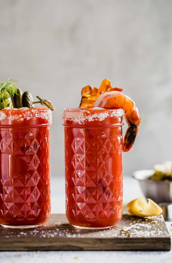 bloody mary with shrimp and bacon