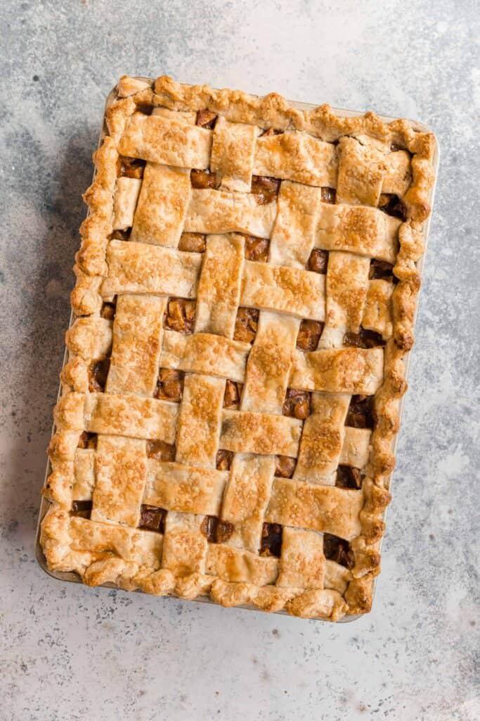 caramel apple slab pie with lattice crust