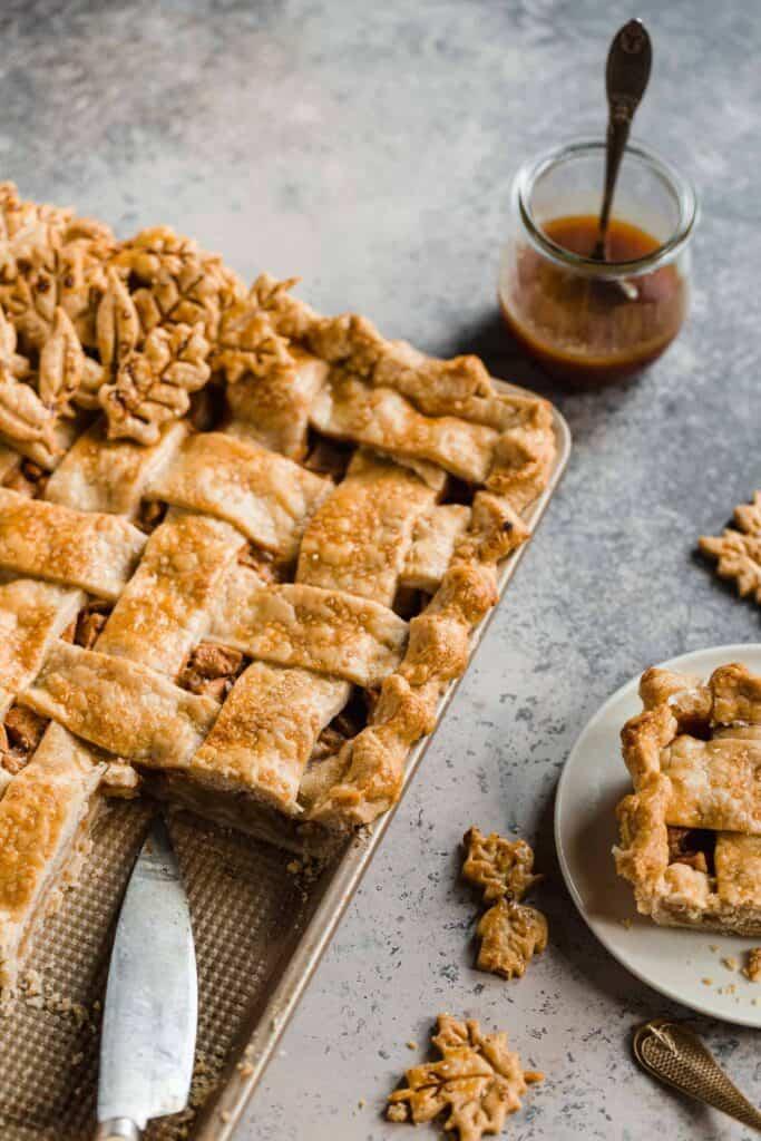 caramel apple slab pie with lattice pie crust