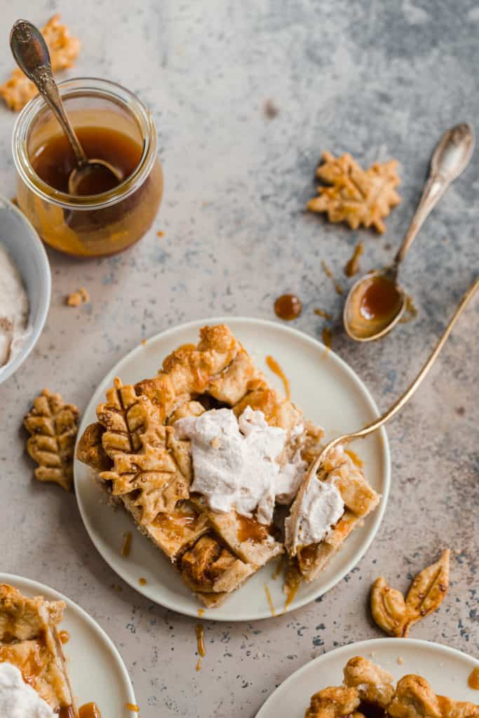 caramel apple slab pie with cinnamon whipped cream