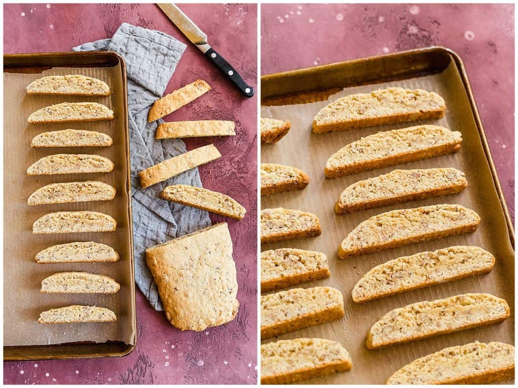 sliced biscotti cookies on a rimmed baking sheet before baking second time