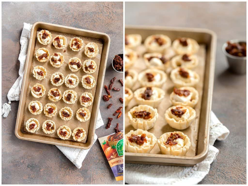 baked brie phyllo cups with sun dried tomatoes