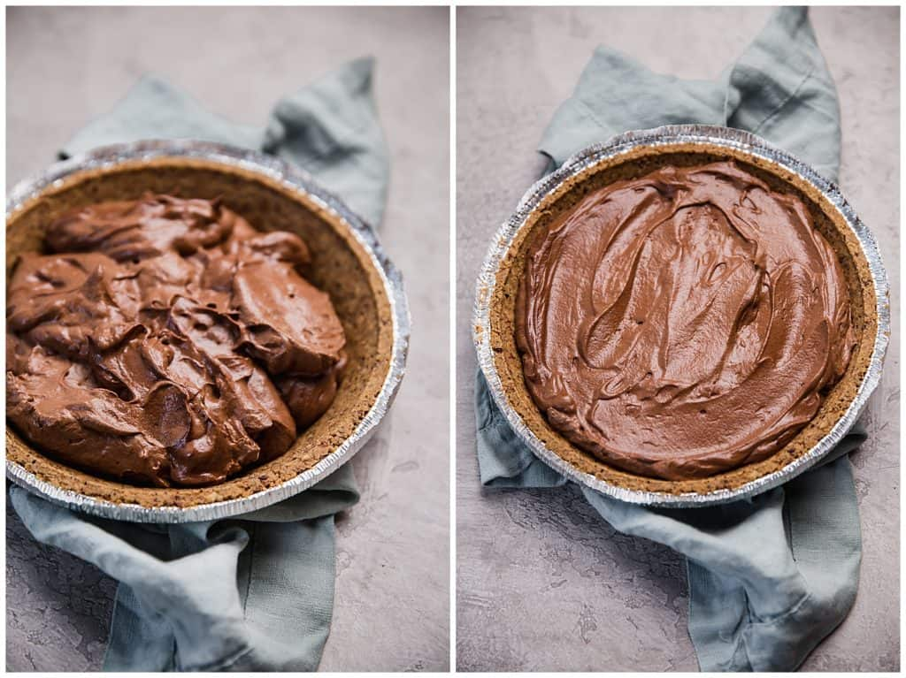 chocolate mousse filling in pie crust