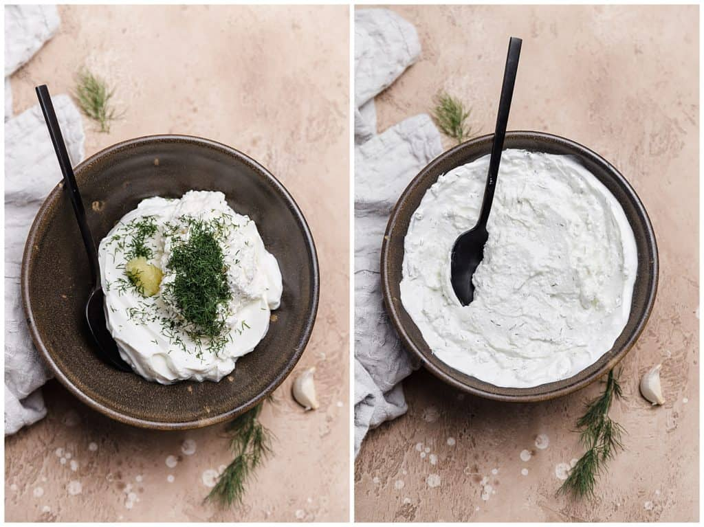 homemade yogurherbed yogurt sauce with garlic and ricotta
