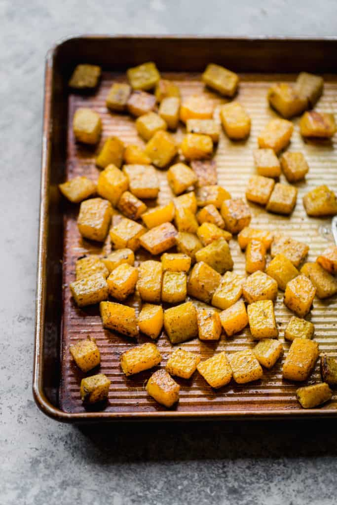 roasted za'atar butternut squash on baking sheet