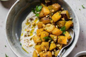 Roasted Butternut Squash with Za'atar and Lemon Tahini Sauce