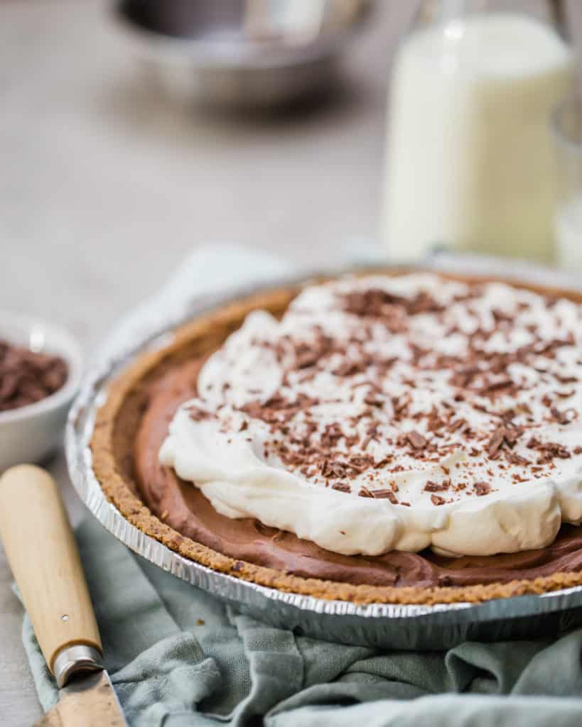 chocolate mousse pie with homemade whipped cream