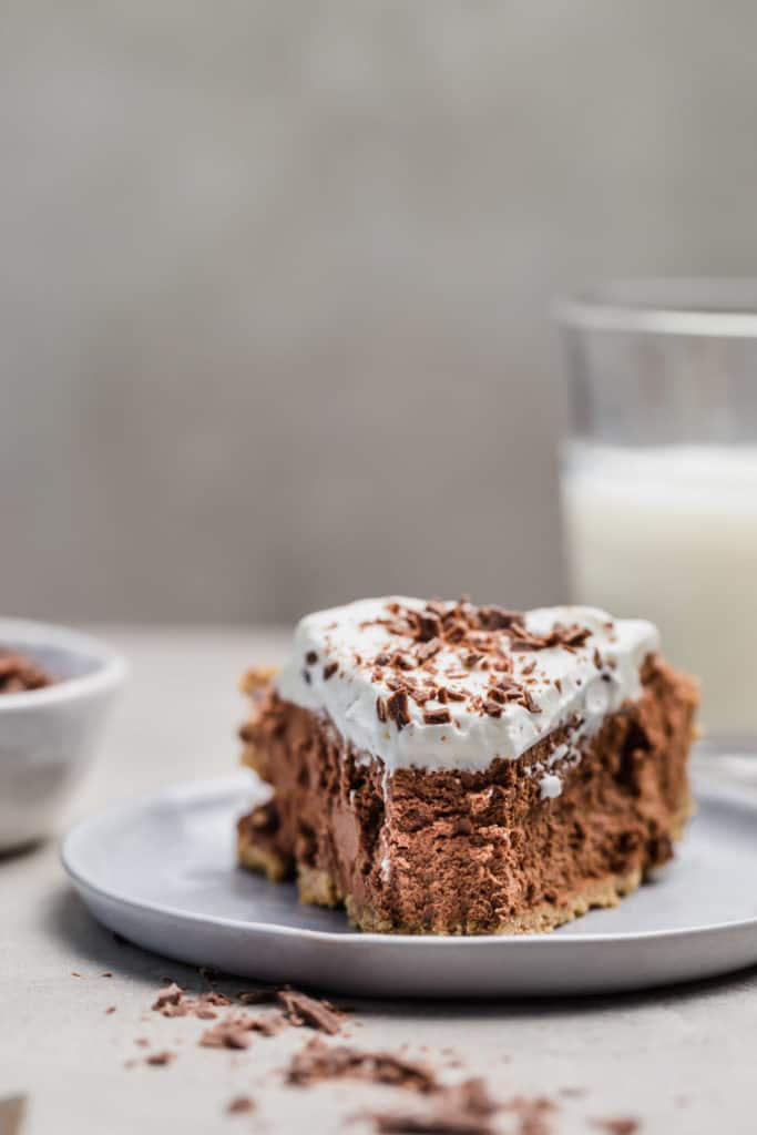 bite shot of no-bake chocolate mousse pie