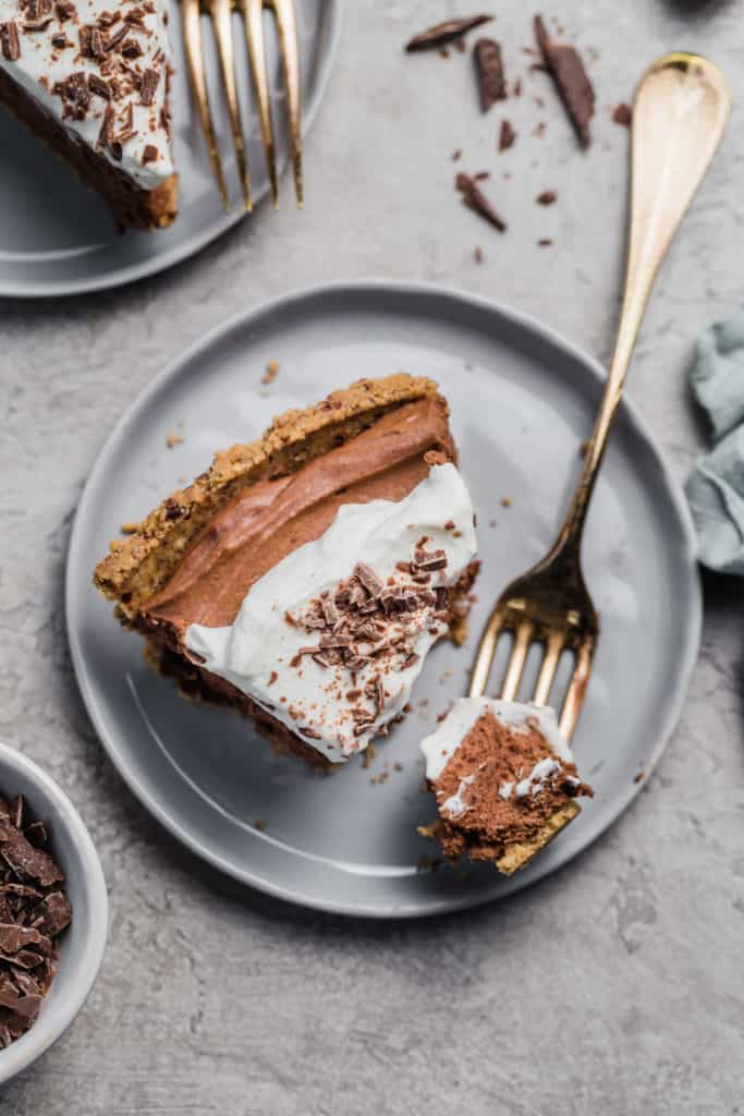 slice of chocolate mousse pie