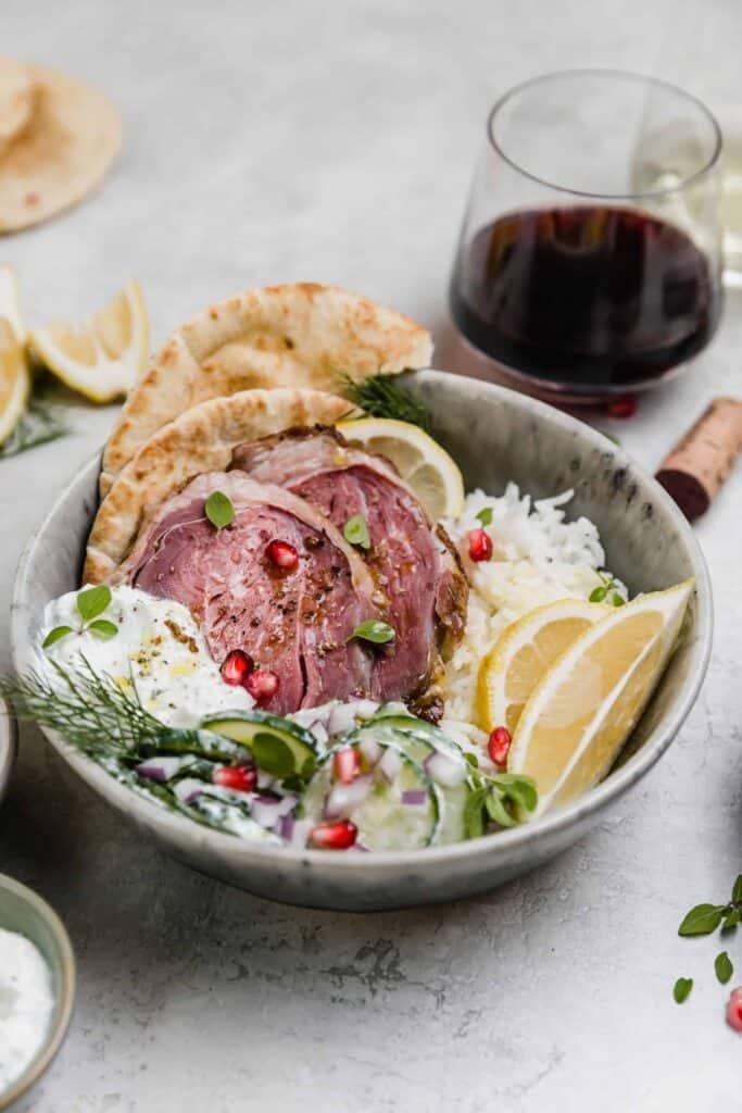 sous vide lamb mediterranean rice bowl