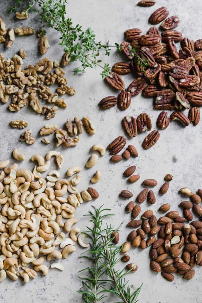 walnuts, almonds, pecans, and cashews